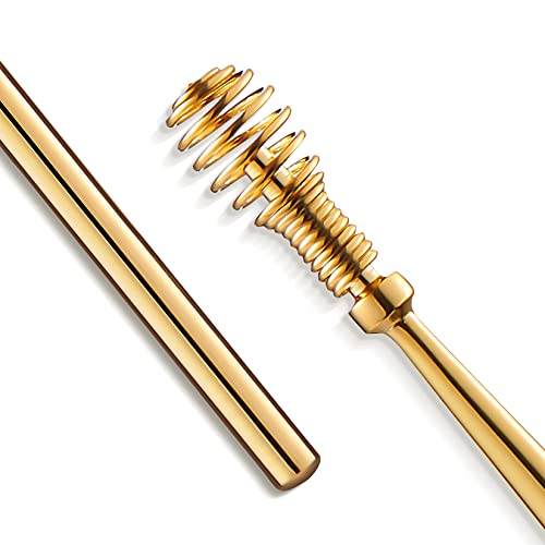 MR.GREEN Ear Wax Removal 360° Spiral Massage Ear Pick Ear Canal Cleaner Stainless Steel Flexible Design Ear Care Tools (Golden)