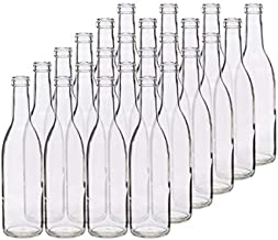 375 ml Clear Glass Composite Flat Bottom Wine Bottles, Cork Finish Case 24 by Berlin Packaging