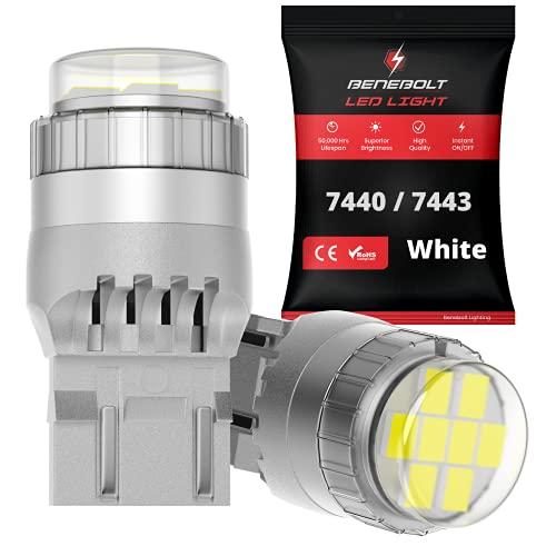 BENEBOLT 7440 7443 LED bulbs - 3400 Lumens Ultra Bright White LED Reverse lights - W21W T20 7441...