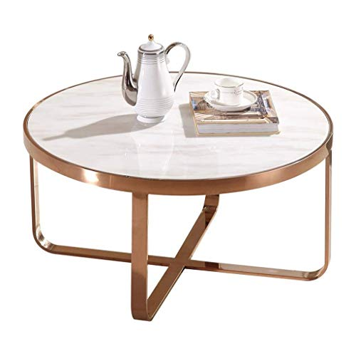 Marmeren salontafel Elegant Ronde Koffietafel End/Side Table met RVS Gold X-Base Smooth Faux Marble Top for Living Room leisure tafel (Size : 80cmx45cm)