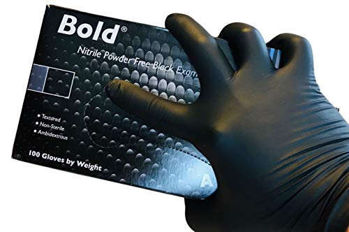 AURELIA BOLD Black Nitrile Powder Free Gloves Medium Box 0f 100 4.5mil Thickness