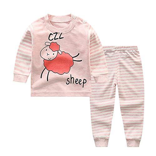 Pijamas de Manga Larga para Niños, Morbuy Pijamas Dos Piezas Bebe Niño y Niña Otoño Suave Y Cómoda Ropa Algodón Ajuste Ceñido Mantener Caliente Camisa + Pantalón para 0-5 años (80CM,Oveja Rosa)