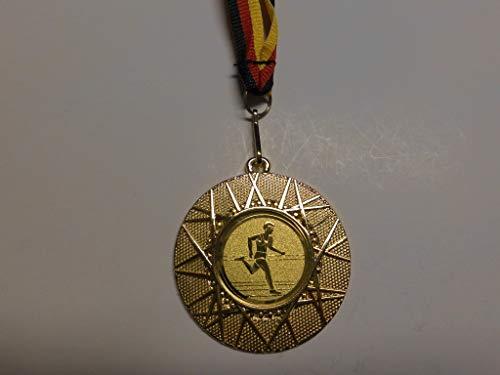 Fanshop Lünen 10 x Medaillen aus Metall 50mm - mit Einem Alu Emblem - Leichtathletik - Laufen - Sprinten - Lauf - inkl. Medaillen Band - Farbe: Gold - mit Emblem 25mm - (e225) -