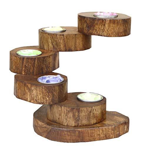 EASYBUY - Portacandele in legno a 5 livelli, pieghevole, girevole a più livelli, in legno, per hotel, club, candela, cena, rustico, matrimonio, festa di compleanno, festa di compleanno