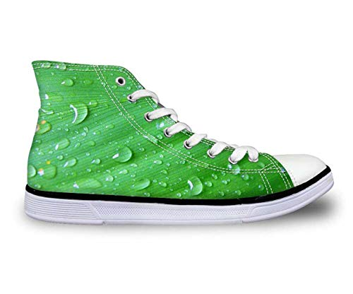 Ladies Green Leafs Fashion Canvas Shoes Casual Walking Sneakers Hi Tops Pumps Nice CC2083AK UK 8