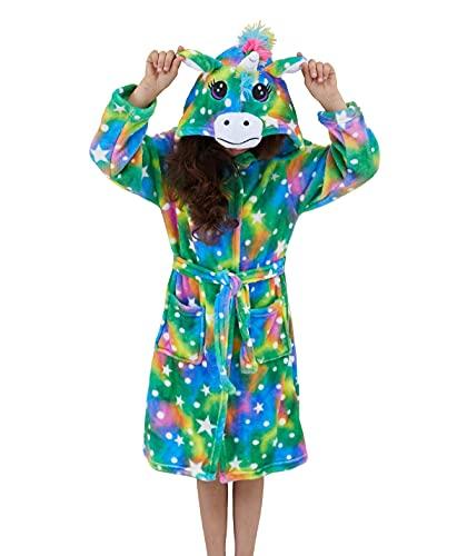 Msrlassn Kinder Weiches Einhorn Kapuzen Bademantel Nachtwäsche - Einhorn Geschenke für Mädchen (Sterne Punkte, 8-9 Jahre)