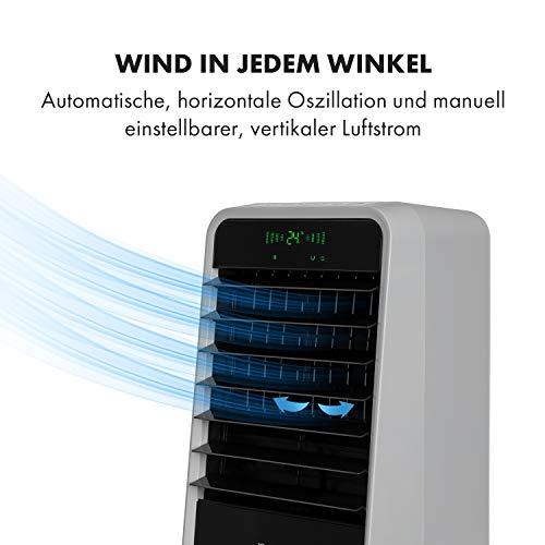 Klarstein Townhouse 3-in-1-Luftkühler, Luftkühler Ventilator Luftbefeuchter, 110 W, 396 m³/h, 4 Windstärken, 4 Modi: Normal/Natur/Nacht/Intelligent, Timer bis 8 h, hellgrau/schwarz
