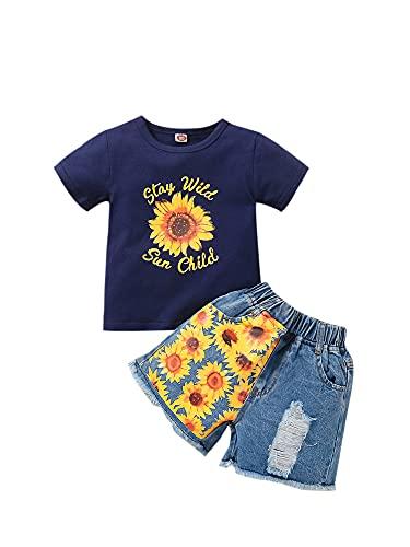 Niños bebés niñas 2 Piezas Traje de Verano Girasol Camiseta de Manga Corta Pantalones Cortos de Mezclilla Rasgados Trajes Casuales Traje (#1-Blue, 1-2T)