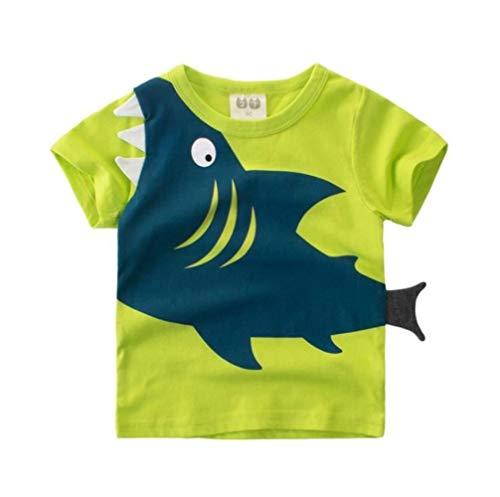 WANG Cartoon Print Baby Boys Shorts T Shirt for Kids Children Boys Girls Top Wear Clothes Cotton Toddler-in T-Shirts,Army Green,6T