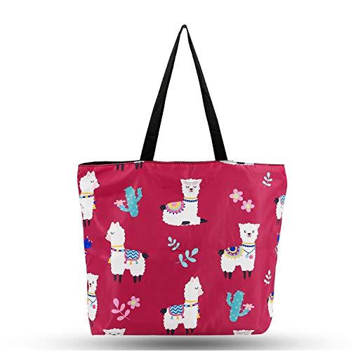 Dames boodschappentas grote handtas designer schoudertas shopper van waterdicht nylon met ritssluiting strandtas tas stabiele en milieuvriendelijke handtas schoudertas met motief