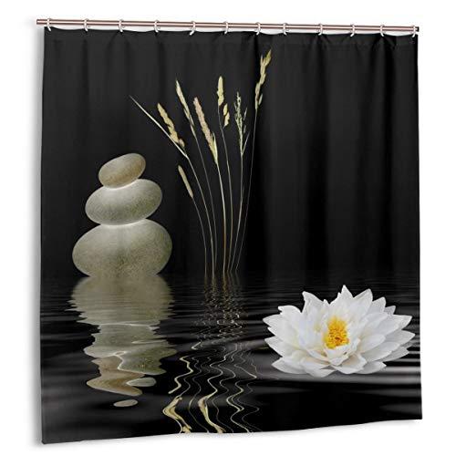 WINTERSUNNY Shower Curtain Zen Stone Wild Grass Reflection in Water Shower Curtains 72 x 72 Meditation Design Waterproof Fabric Bathroom Shower Curtains with 12 Hooks Set