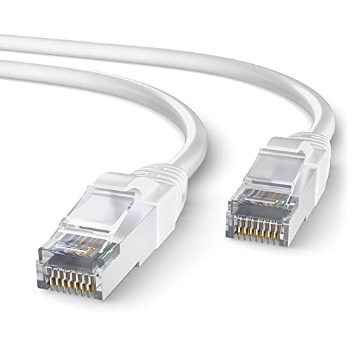 Mr. Tronic 30m Cable de Red Ethernet Trenzado | CAT7, SFTP | Conectores RJ45 | LAN Gigabit de Alta Velocidad | Conexión a Internet | Ideal para PC, Router, Modem, Switch, TV (30 Metros, Blanco)