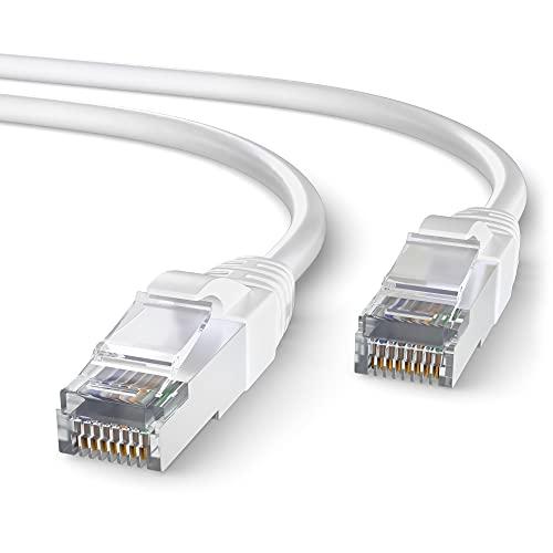 Mr. Tronic 5m Cable de Red Ethernet Trenzado   CAT7, SFTP   Conectores RJ45   LAN Gigabit de Alta Velocidad   Conexión a Internet   Ideal para PC, Router, Modem, Switch, TV (5 Metros, Blanco)