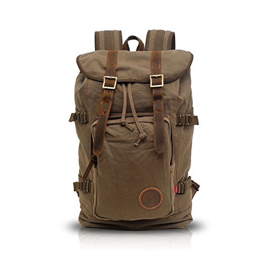 FANDARE Casual Retro Outdoor Backpack Travel Hiking Mountaineering Laptop 15.6'' Inch School Bag Women/Men Canvas Adjustable Classic Daypack Army Green