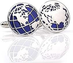 زوج من أزرار الكم خريطة الأرض من Globe في صندوق هدايا للعرض
