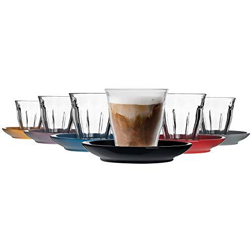 Duralex Picardie - Juego de 12 tazas de café y platillo de cerámica (220 ml)