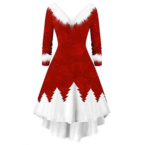 HolAngela Frauen Weihnachten Kostüm Party Kleider Mode Cosplay Faux Plüsch Langarm Tops Casual V-Ausschnitt Strick Unregelmäßige Bankett Kleid Karneval Festival Kleid