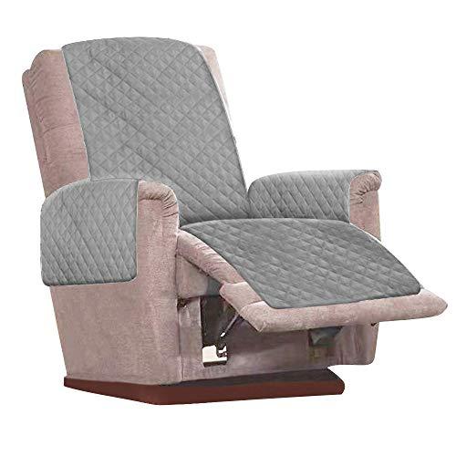 Keyohome Funda para sillón relax reclinable universal de 1 plaza, funda para sillón antideslizante, antiviento, para protección de sofá con banda elástica (gris)