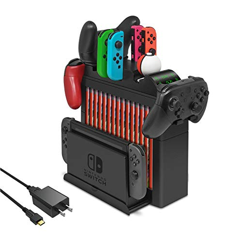 FYOUNG Charging Dock for Nintendo Switch Joy Cons, Pro Controller and Poke Ball Plus Controllers, Multi-Function Organizer and Switch Storage Rack Bracket Tower Holder Stand with Fast Charger