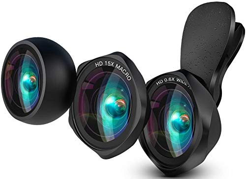 LUXSURE Universal HD Phone Lens for iPhone and Android Phone 3 in 1 Clip-on Cell Phone Camera Lens 0.6X Wide Angle Lens + 15X Macro Lens + 0.28X Fisheye Lens for Most iOS/Android Smartphones - Black…