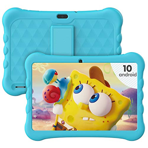 Kids Tablet 10 Inch, HAOQIN Haokids E10 Android 10 Tablet for Kids, 32GB ROM, HD IPS Display, Dual Camera, Kids Software Pre-Installed, Blue