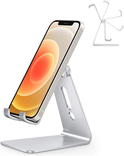 Adjustable Cell Phone Stand, OMOTON Aluminum Desktop Cellphone Stand Compatible with iPhone 12 Mini, iPhone 12 Pro Max, iPhone 11 Pro, XR, 8 Plus 7 6, Samsung Galaxy, Google Pixel, Silver