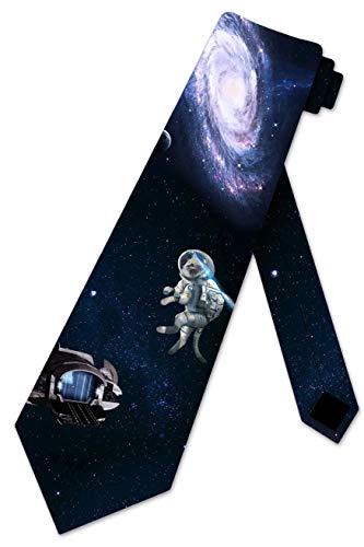 Space Ties Mens Galaxy Cat Necktie by Three Rooker