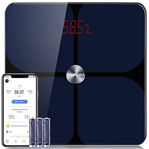 YOUNGDO Báscula de Grasa Corporal con Recubrimiento ITO, Báscula de Baño Bluetooth Digital con APP para iOS y Android, Medición de 19 Datos Corporales, Soporta 999 Usuarios, Máxima 180 kg
