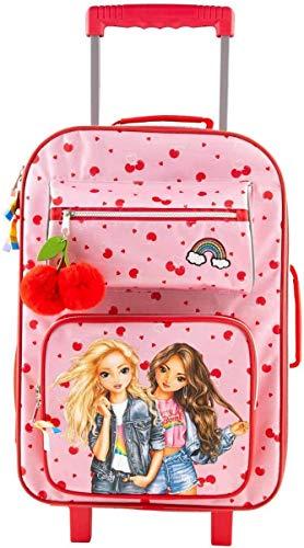 Depesche 10994 TOPModel - Koffer mit Rollen im pinken Cherry Bomb Design, Trolley in Handgepäck-Größe, ca. 54 x 34 x 25 cm, Teleskopgriff und leichtgängige Räder