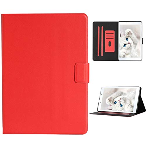 HH-Tablet Case,For Samsung Galaxy Tab A 8.0 (2019) T290/T295 Solid Color Horizontal Flip Leather Case with Card Slots & Holder hangma (Color : Red)