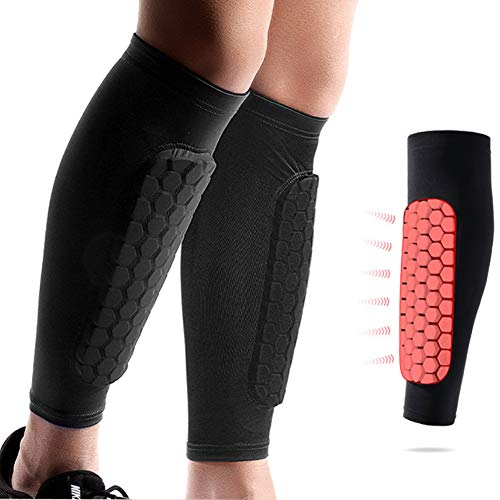 YUNYILAN Soccer Shin Guards Shin Pads for Kids Youth Adult, Calf Compression Sleeve with Honeycomb Pads, Support for Shin Splint Baseball Boxing Kickboxing MTB, Lightweight (1 Pair Black, L)