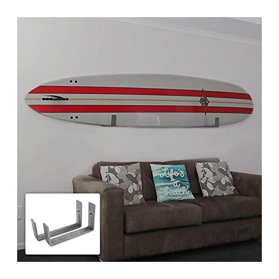 Bps paddleboard/sup wall rack, minimalist display for indoors and outdoors, rust resistant w/soft padding protection 1 the company - helping everyone to 'get out and do' is the reason barrel point surf exists. Created by a kiwi surfer and caring dad who loves helping others get out onto and into the water, we're a mom & pop business that began with us building surfboards in our garage. Now we are all about helping make water sports accessible, wherever you are in the world. Say yes to barrels, not barriers. The product- our bps minimalist board wall racks are what you need! Strongly designed and can hold two boards at once. These can hold one sup and either a longboard or a shortboard; or two short-boards / two long-boards / one short-board and one long-board. You can store your paddle as well if you'll put one board only. More about the product - it is built with super soft padding that will ll always protect your sup's rails. These are constructed with marine-grade aluminum, making these racks free from rusting. Available in two colors- midnight black and ocean grey.
