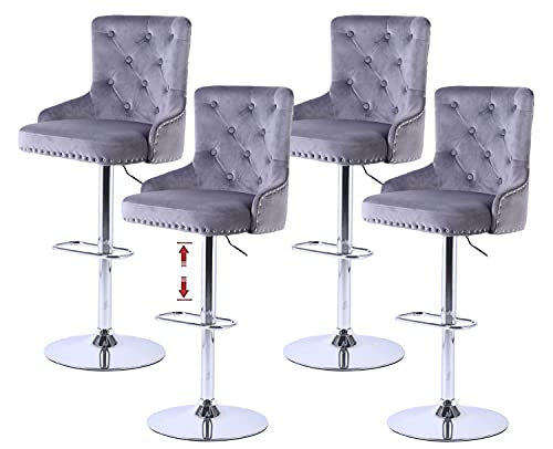Kitchen High Bar Chair Set of 4 Velvet Grey Swivel Bar Stool with Back Bar Counter Height Stools Adjustable Counter Stool for Kitchen Island , Rivets Detailing