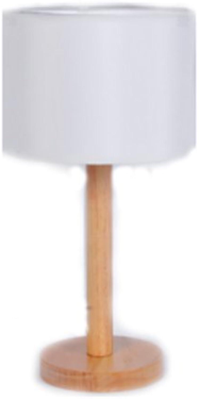 LEGELY American countryside Holz Tischlampe, wei, Wohnzimmer Schlafzimmer Hotel dekorative Licht, E27,10W, runde Basis, moderne einfache handgefertigte Licht, Gummi Holz