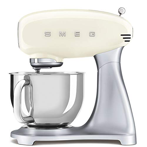 Smeg SMF02CRUK Stand Mixer 50's Retro Style with 10 Variable Speed Control, Stainless Steel Bowl, Safety Lock when Mixing, Includes Wire Whisk, Flat Beater, Dough Hook, 4.8 Litre, 800 W, Cream