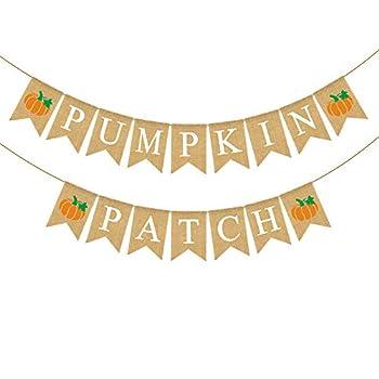 Rainlemon Jute Burlap Pumpkin Patch Banner Fall Autumn Theme Little Pumkin Birthday Party Garland Decoration