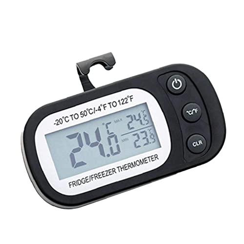 TOPofly Nevera Termómetro, a Prueba de Agua Termómetro del refrigerador, congelador Digital con Gancho LCD para la Cocina del hogar (Negro)