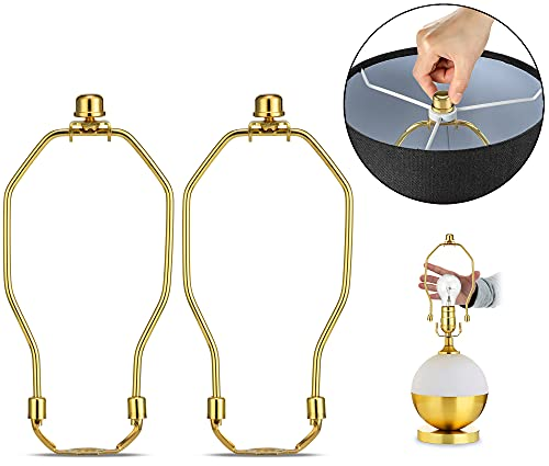 Lamp Shade Holder, 2 Set 7 Inch [Heavy Duty] Lamp Harp Holder with 3/8 Standard Saddle + Lamp Finial Caps for Table and Floor Lamps (Polished Brass)