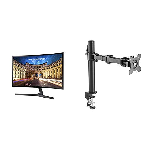 """Samsung 23.5"""" FHD Curved LED-Lit FreeSync Monitor(LC24F396FHNXZA) with AmazonBasics Single Computer Monitor Stand – Height Adjustable Desk Arm Mount, Steel Bundle, Black"""