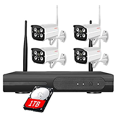 LOOSAFE Wireless Home Security Camera System with NVR 1TB Hard Drive 4pcs 1080P Infrared IP Cameras