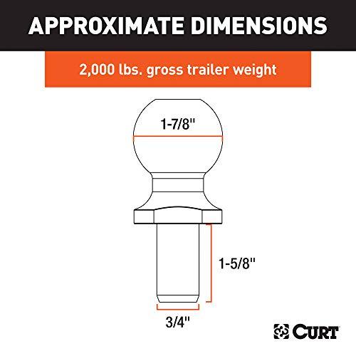 CURT 40001 Chrome Trailer Hitch Ball, 2,000 lbs, 1-7/8-Inch Diameter, 3/4 x 1-5/8-Inch Shank