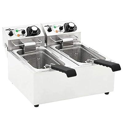 Ausla Friteuse électrique double professionnelle, 220 – 240 V, 4000 W, en acier inoxydable, avec panier friteuse, température réglable