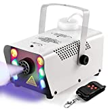 Sunolga Halloween Fog Machine,6 Stage LED Lights with 7 Colors,500W Wireless Remote Control Portable Smoke Machine,with Fuse Protection,for Holidays Parties Weddings Stage Club Bar - White