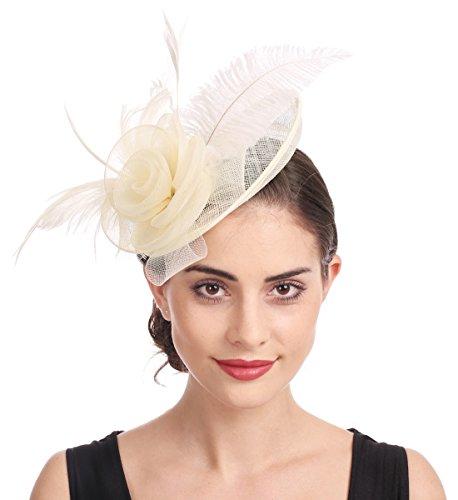 Fascinator Blume Netzmütze Feder Mesh Netz Schleier Tea Party Derby Hut mit Clip und Haarband für Frauen (A4-Beige)