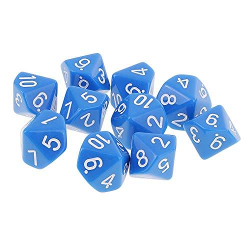 Yourandoll 10 STÜCKE Polyedrische Würfel D10 Würfel Dice Spielwürfel for DND RPG Brettspiel Kartenspiel (Blau)