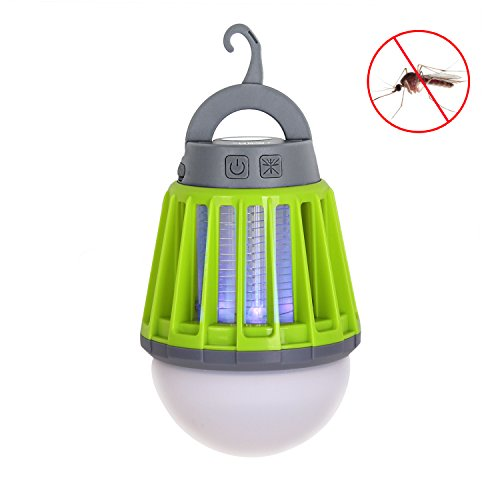 電撃殺虫器 UV紫光誘引式 静で安心 蚊取りと照明両用 2000mAH容量 USB充電可能 IPX6防水機能 (緑-new)