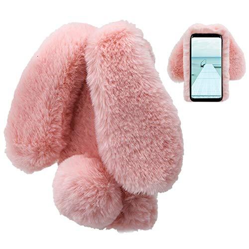 LCHDA kompatibel mit Samsung Galaxy S8 Plüsch Hülle Flauschige Hasen Fell Hülle Handyhülle Für Mädchen Kaninchen Pelz Niedlich Hasenohren Handytasche Schützend Stoßfest TPU Silikonhülle-Rosa