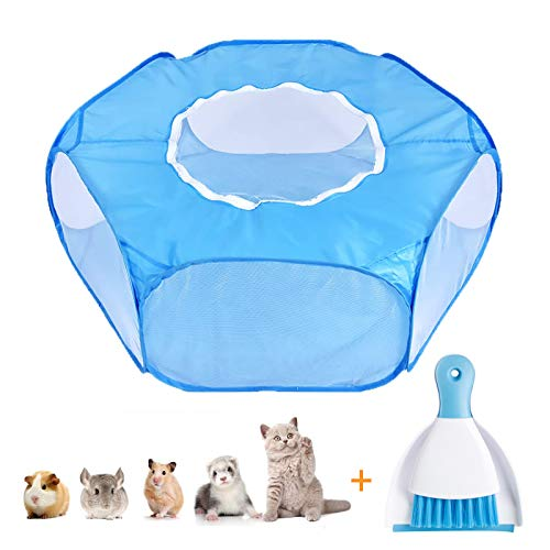 Small Animal Playpen, Waterproof Pet Cage Tent with Top Cover, with 1 Set of Mini Broom Trash Shovel,Foldable Breathable Cage Perfect for Guinea Pig, Rabbits,...