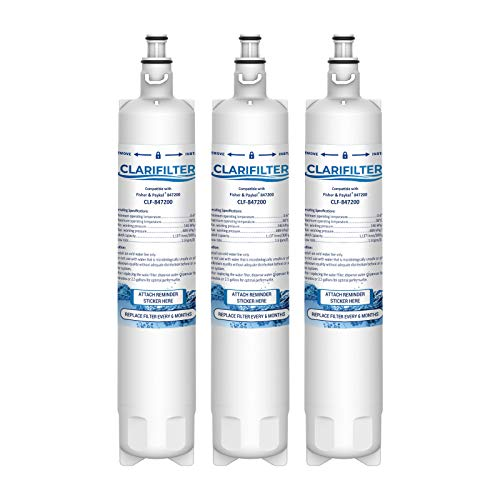 Clarifilter 847200 Wasserfilterpatrone für Kühlschrank kompatibel mit Fisher & Paykel 847200; RF605QDUVX1; RS9120W Activesmart Integrated; RS90A, RS36, RF522ADUX5; RF610, RF605Q, RS9120, RF522 (3)