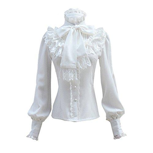 Damen Plissee Rock Rüsche Chiffon Bluse Retro Viktorianisch Lolita Bluse (Blanc, M)